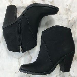 Dolce Vita Matte Leather Black Zip Up Booties